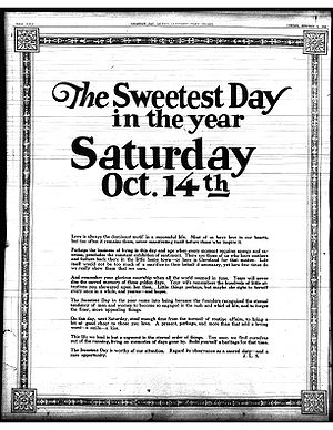Sweetest Day - Full page Sweetest Day editorial published in The Cleveland Plain Dealer on October 8, 1922.