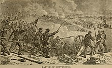 Drawing of the Battle of Gettysburg, depicting soldiers charging forward and firing a cannon