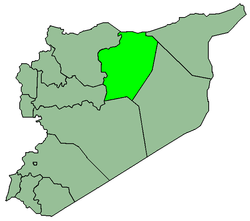 Map of Syria with Raca highlighted.