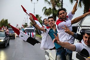 Syrian presidential election, 2014 - Damascus residents celebrating the re-election victory of President Bashar al-Assad (4 June 2014)