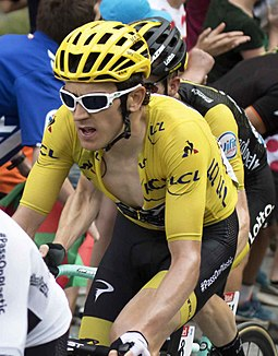 Geraint Thomas (pictured at the 2018 Tour de France) returned to defend his title. TDF24529 thomas (42865367605).jpg