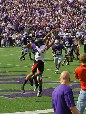 2008 Kansas State Wildcats football team - Texas Tech's Lyle Leong catching a pass for a touchdown against Kansas State