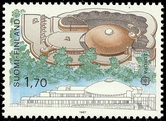 "Organic architecture - Postage stamp featuring ""Metso"", the Tampere City Library, Finland, by Reima Pietilä."