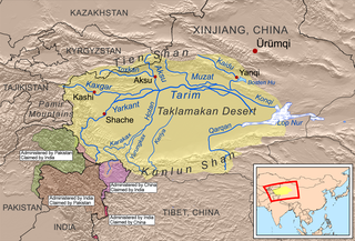 river in China and Kyrgyzstan