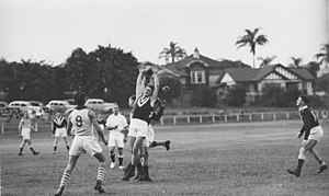 Bowen Hills, Queensland - Taringa vs Wests Australian rules football match at Perry Park, Bowen Hills in the 1930s