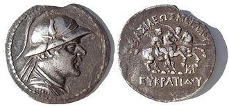History of Central Asia - Tetradrachm of the Greco-Bactrian King Eucratides (171–145 BC).