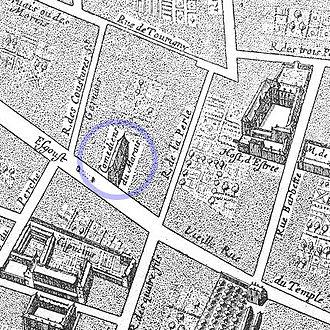 Théâtre du Marais - Image: Théâtre du Marais detail Gomboust map Paris 1652