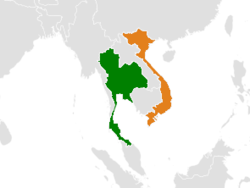Map indicating locations of Thái Lan and Việt Nam