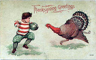 American football on Thanksgiving - Thanksgiving postcard circa 1900 showing a turkey and football player.