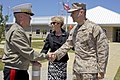 The 35th Commandant of the Marine Corps, Gen. James F. Amos, left, shakes hands with Lt. Col. David R. Berke as the Marine Corps First Lady, Bonnie Amos, center, stands by following a visit to the Marine Fighter 130504-M-LU710-219.jpg