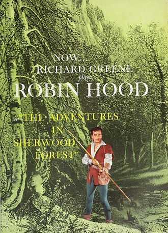 The Adventures of Robin Hood (TV series) - 1958 advertisement featuring the series' alternative title, The Adventures in Sherwood Forest