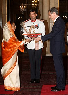 The Ambassador- designate of Federal Republic of Germany, Mr. Michael Steiner presented his credential to the President, Smt. Pratibha Devisingh Patil, at Rashtrapati Bhavan, in New Delhi on July 13, 2012.jpg