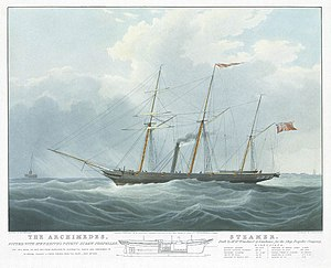 The Archimedes, fitted with Mr. F.P. Smith's Patent Screw Propeller - off The Nore, on her trip from Gravesend to Portsmouth - May 14th 1839 RMG PY8879.jpg