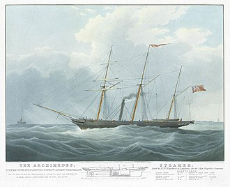 SS Archimedes - Image: The Archimedes, fitted with Mr. F.P. Smith's Patent Screw Propeller off The Nore, on her trip from Gravesend to Portsmouth May 14th 1839 RMG PY8879