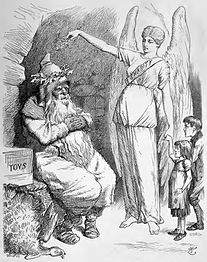 1891 engraving of Father Christmas being awoken by a figure representing Charity