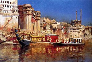 Narayan dynasty - An old painting by Edwin Lord Weeks showing the Barge Of The Maharaja Of Benares ca 1883.