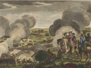 Battle of Prague (1757) - The Battle of Prague in Bohemia, May 6, 1757, English 18th century copper engraving