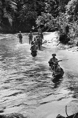 Malayan Emergency - Malayan Police conducting a patrol around the Temenggor, 1953