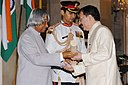 The President, Dr. A.P.J. Abdul Kalam presenting Padma Shri to Prof. Seyed E. Hasnain, renowned biologist, at an Investiture Ceremony at Rashtrapati Bhavan in New Delhi on March 29, 2006.jpg