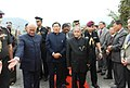 The President, Shri Pranab Mukherjee being received by the Governor of Sikkim, Shri B.P. Singh and the Chief Minister of Sikkim, Shri Pawan Chamling, at Libing helipad, in Gangtok on April 16, 2013.jpg