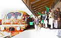 The Prime Minister, Dr. Manmohan Singh flagging off the First Train in the valley between Anantnag-Srinagar-Rajwansher, at Srinagar on October 11, 2008.jpg