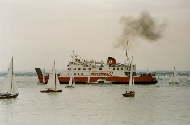 The Red Funnel Ferry weaving its way between the yachts - geograph.org.uk - 1203867