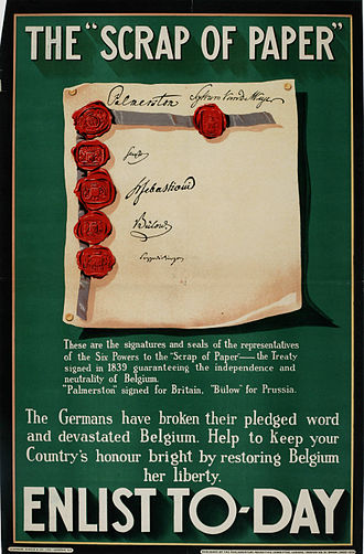 "History of the United Kingdom during the First World War - ""The Scrap of Paper – Enlist Today"", 1914 British propaganda poster emphasizes defence of Belgium."