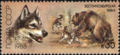 The Soviet Union 1988 CPA 5949 stamp (East Siberian Laika. Bear hunting).png