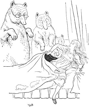 Goldilocks and the Three Bears - Goldilocks caught in Baby Bear's bed – by Leonard Leslie Brooke