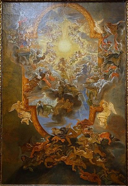 File:The Triumph of the Name of Jesus, by Il Baciccio (Giovanni Battista Gaulli), 1676-1679, oil on paper, study for ceiling of Il Gesu in Rome - Princeton University Art Museum - DSC06514.jpg