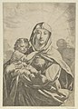 The Virgin standing facing front and holding the infant Christ, angels behind them in the clouds MET DP841770.jpg