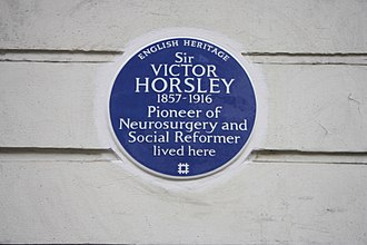 Victor Horsley - The blue plaque to Victor Horsley on Gower Street in London