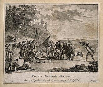 Battle of Limburg (1796) - An engraving of Marceau's death