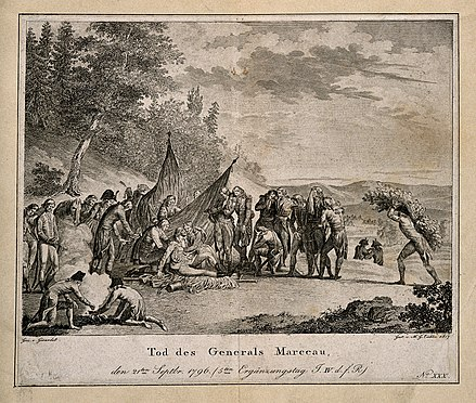 An engraving of Marceau's death The death of General Marceau, during the retreat at Altenkir Wellcome V0006891.jpg