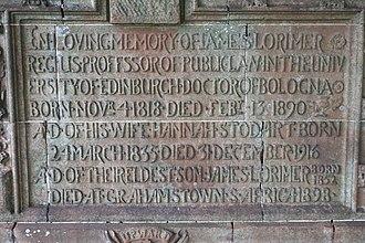 James Lorimer (advocate) - The inscription to James Lorimer