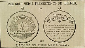 Frederick Hollick - An award given to Frederick Hollick by the Ladies Association of Philadelphia in appreciation of his frank lectures