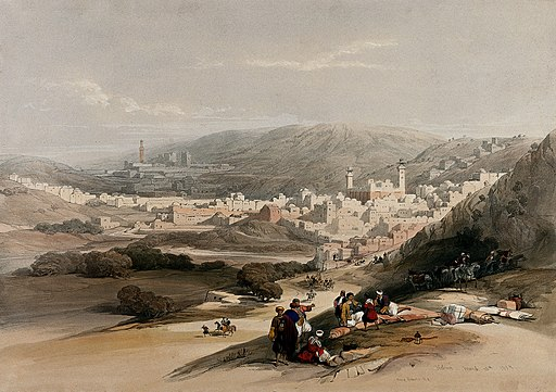 The town of Hebron. Coloured lithograph by Louis Haghe after Wellcome V0049466