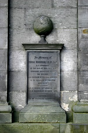 Thomas Henderson (astronomer) - Memorial to Thomas Henderson at the observatory on Calton Hill