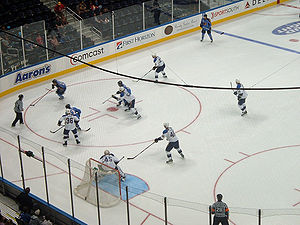 Atlanta Thrashers - The Thrashers take the puck into the offensive zone against the St. Louis Blues at Philips Arena on September 22, 2007.