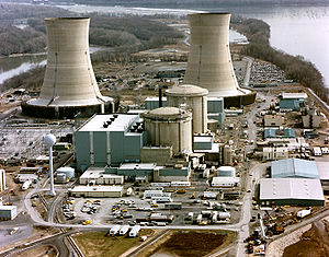 The Three Mile Island nuclear power plant on Three Mile Island, circa 1979
