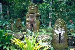 Hiva Oa - These stone statues are called Tikis and are abundant on Hiva Oa, especially near the village of Puama'u on the northeastern coast.