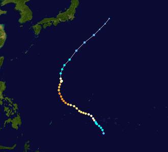 1959 Pacific typhoon season - Image: Tilda 1959 track