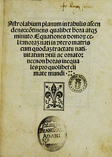 Title page of the Astrolabium of Johannes Engel, printed by Johann Emerich, Venice 1494.jpg