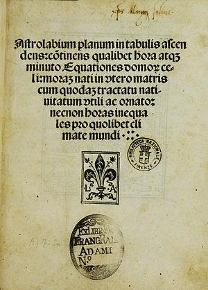 Johannes Engel - Title page of the Astrolabium, printed by Johann Emerich for Lucantonio Giunti, Venice 1494