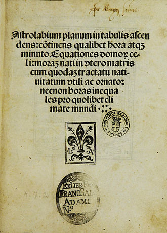 Johannes Engel - Title page of the Astrolabium, printed by Johann Emerich for Lucantonio Giunti, Venice 1494