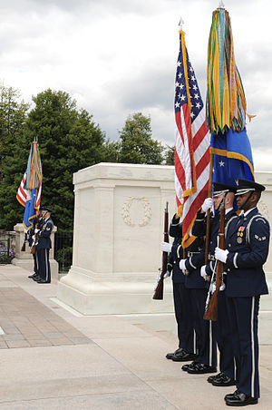 United States Air Force Honor Guard -  Two USAF HG color teams take part in an Air Force Wreath-Laying ceremony at the Tomb of the Unknowns at Arlington National Cemetery.