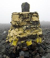 Hraniční kámen na nejvyšším místě Finska
