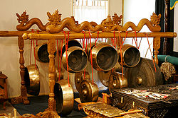 A gong collection in a Gamelan ensemble of instruments - Indonesian Embassy Canberra