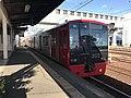 Train of Chikuhi Line arriving at Nishi-Karatsu Station.jpg