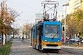 Tram in Sofia near Russian monument 008.jpg
